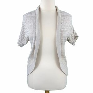 Lane Bryant Beige Open Front Short Sleeve Cable Knit Cardigan